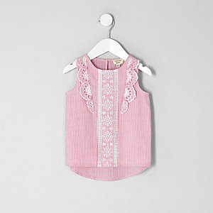 Mini girls pink stripe frill shell top