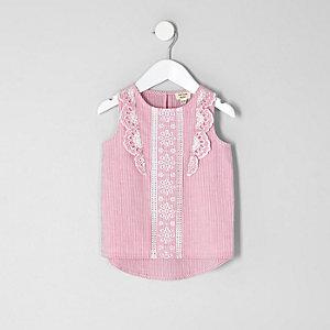 Mini - Roze gestreepte top met ruches voor meisjes