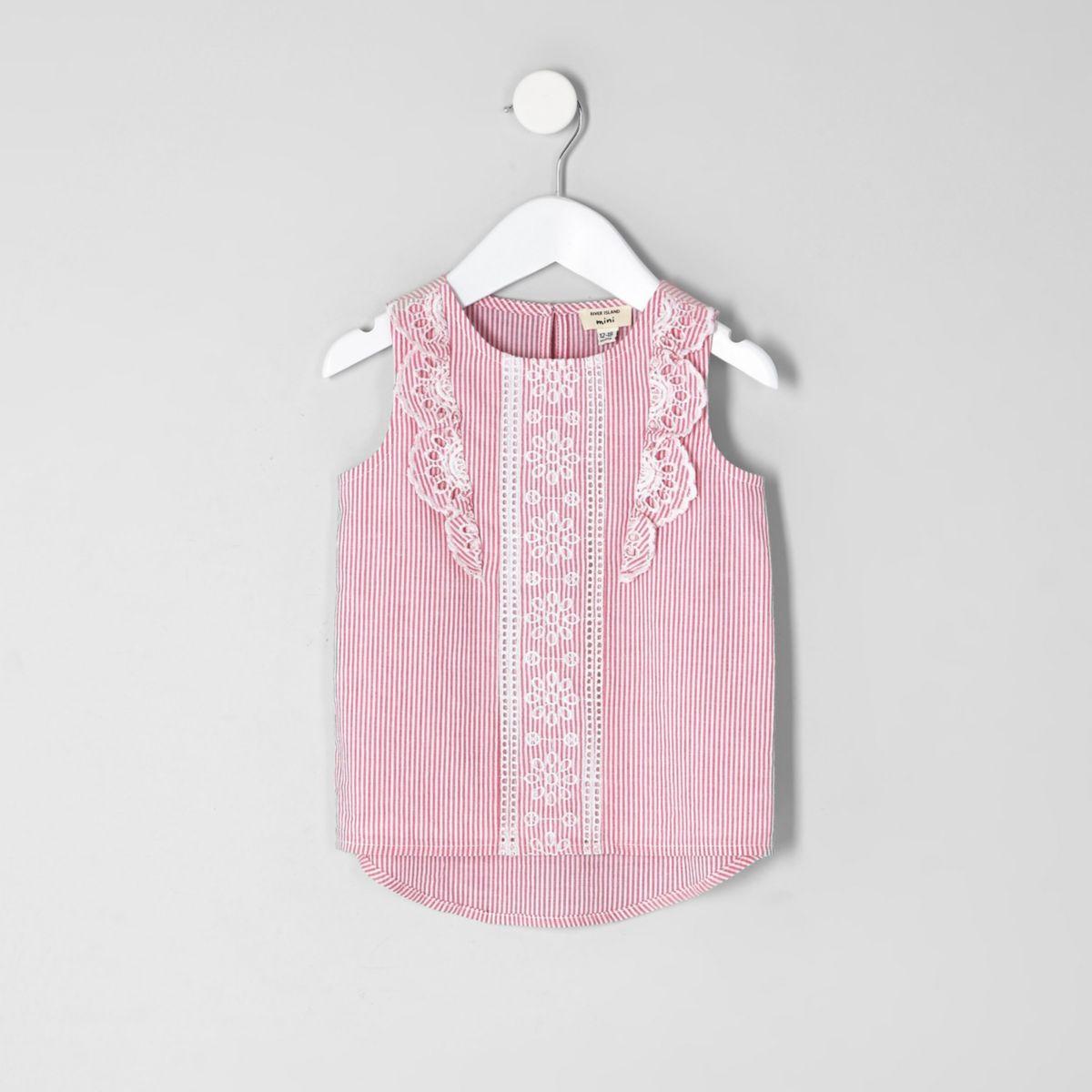 Mini girls pink stripe frill shell top