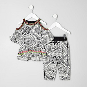 Mini girls printed cold shoulder top outfit