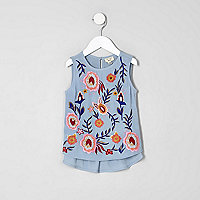 Mini girls blue embroidered peplum shell top