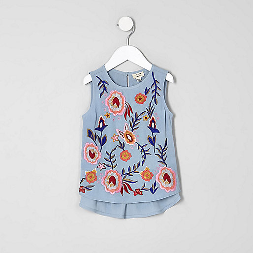 Mini girls blue embroidered peplum shell top