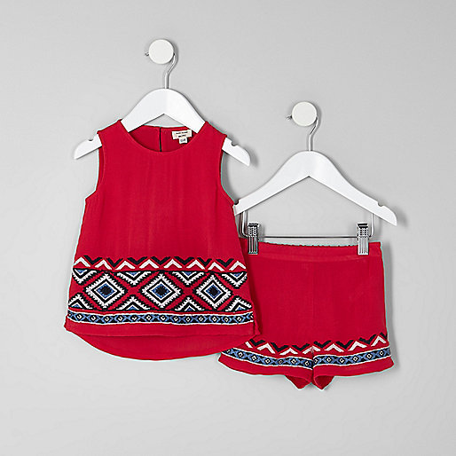 Mini girls red embroidered shell top outfit
