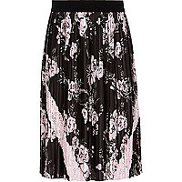 Girls black pleated floral midi skirt