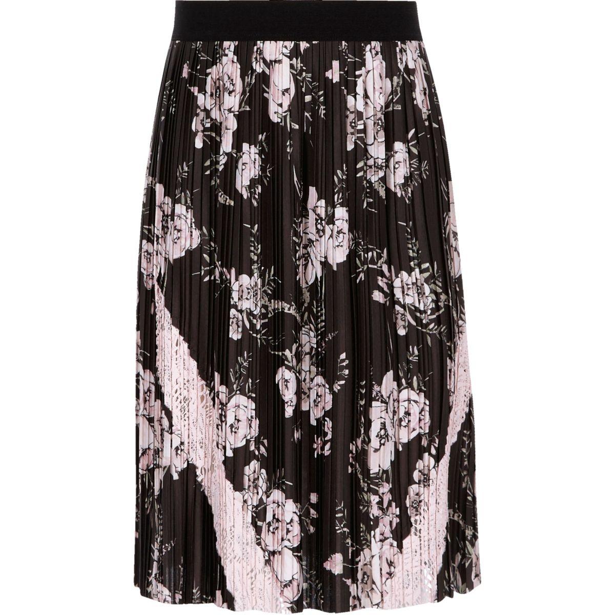 Girls black pleated floral midi skirt