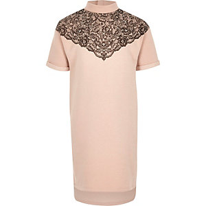 Girls pink lace embellished high neck dress