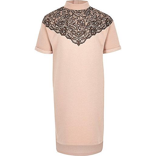 Girls pink lace embellished high neck dress