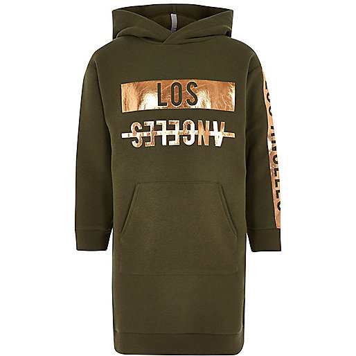 Girls khaki 'Los Angeles' print hoodie dress