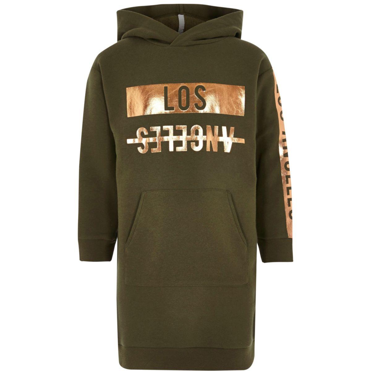 Girls khaki 'Los Angeles' print hoodie dress