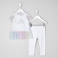Mini girls glitter print mesh T-shirt outfit
