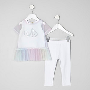Mini girls glitter print mesh T-shirt outfit