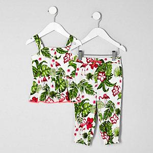 Mini - Outfit met witte camitop met print voor meisjes