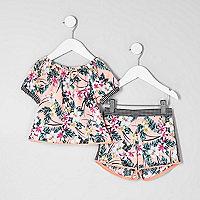 Mini girls tropical bardot top outfit