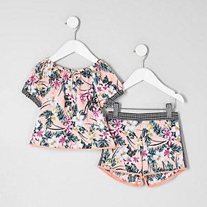 Mini - Outfit met bardottop met tropische print voor meisjes