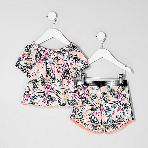 Mini girls tropical bardot top outfit