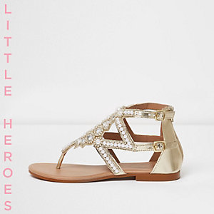 Girls silver pearl embellished flat sandals