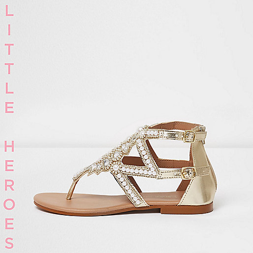 Girls silver pearl embellished flat sandals
