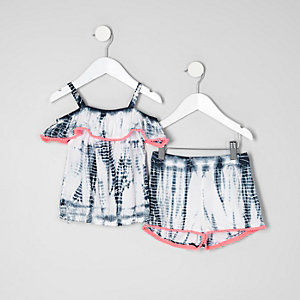 Mini girls blue tie dye bardot top outfit