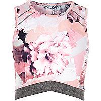 Girls RI Active pink floral print crop top