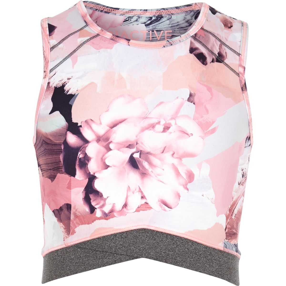 Girls RI Active pink floral print crop top