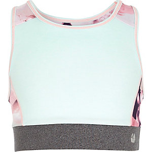Girls RI Active green racer back crop top