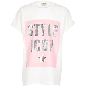 Girls white sequin print T-shirt