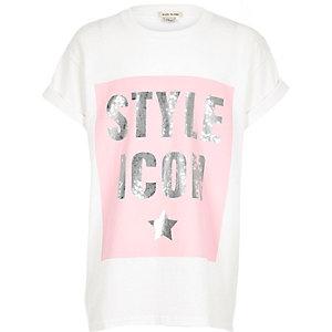 Wit T-shirt met lovertjes en print voor meisjes