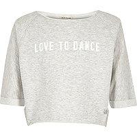 Girls RI Active light grey print sweatshirt