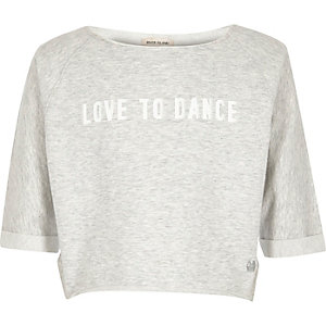 Girls RI Active light grey print sweatshirt