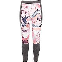 Girls RI Active pink floral print leggings