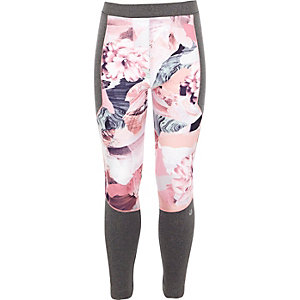Girls RI Active pink floral print leggings