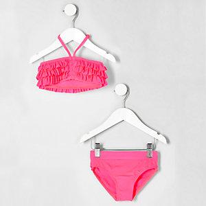 Pinker Bandeau-Bikini mit Rüschen