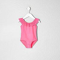 Mini girls pink frill swimsuit