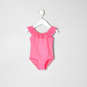 Mini girls pink frill swimsuit