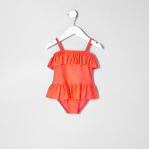 Mini girls coral frill skirt swimsuit