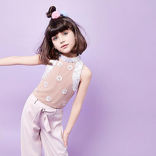 Girls RI Studio pink embellished crop top