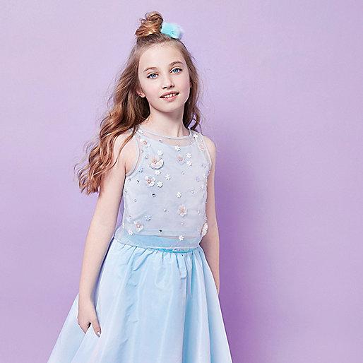 Girls RI Studio blue layered embellished top