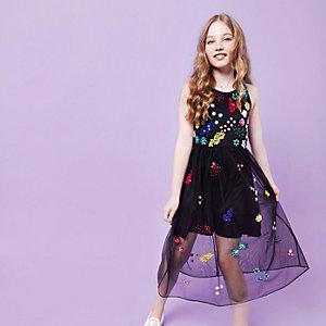 Girls RI Studio black embellished maxi dress