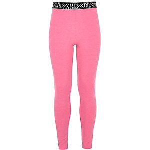 Girls neon pink RI branded leggings