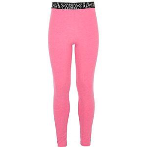Leggings rose fluo avec logo RI pour fille