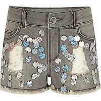Girls grey sequin denim shorts