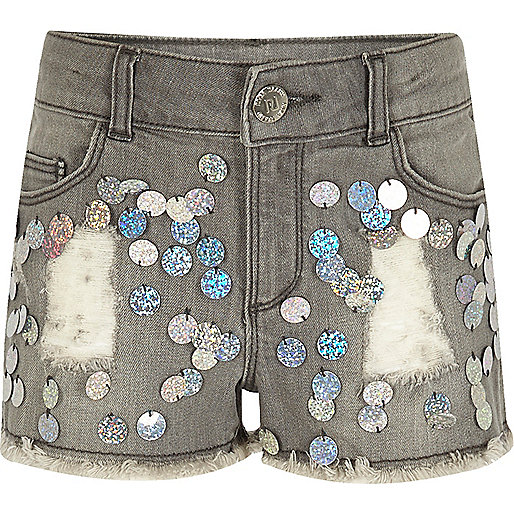 Girls grey sequin denim shorts