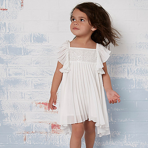 Mini girls cream pleated lace trapeze dress