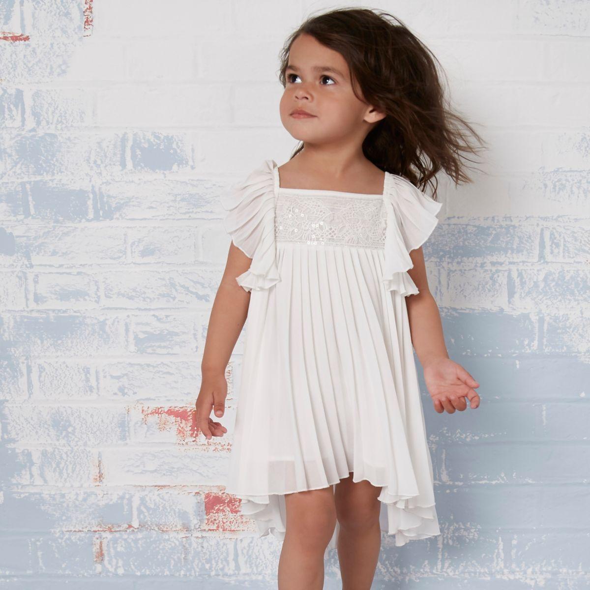 Mini girls cream pleated lace trapeze dress