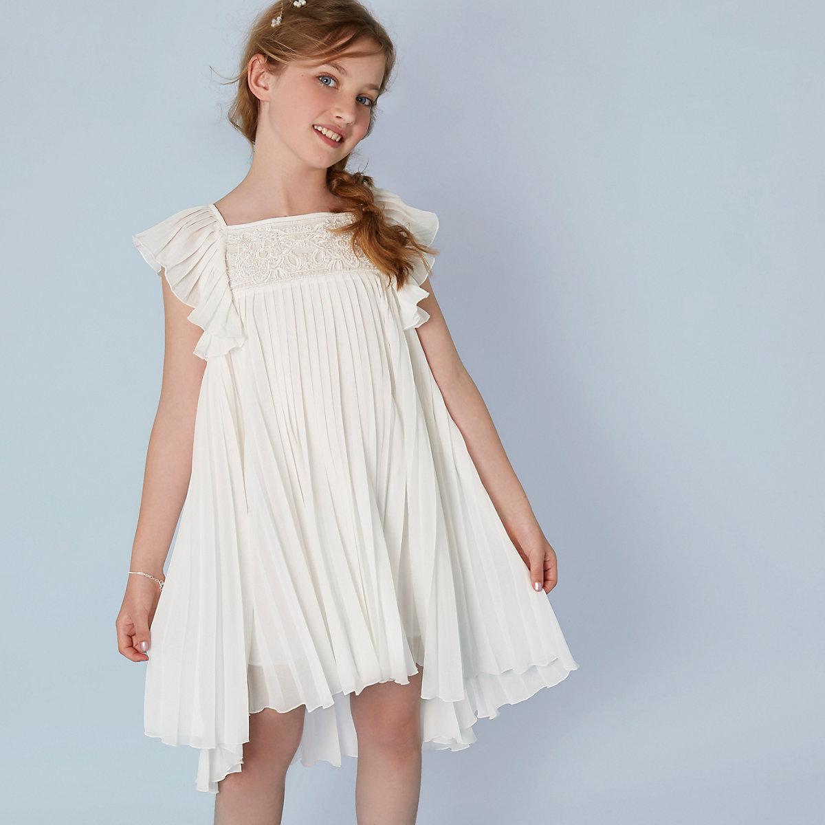 Girls cream pleated lace flower girl dress
