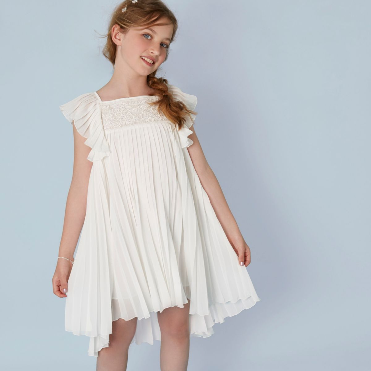 Girls cream pleated lace flower girl dress