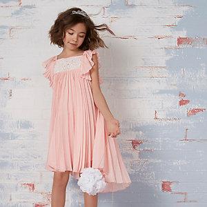 Robe de demoiselle d'honneur rose plissée avec dentelle fille