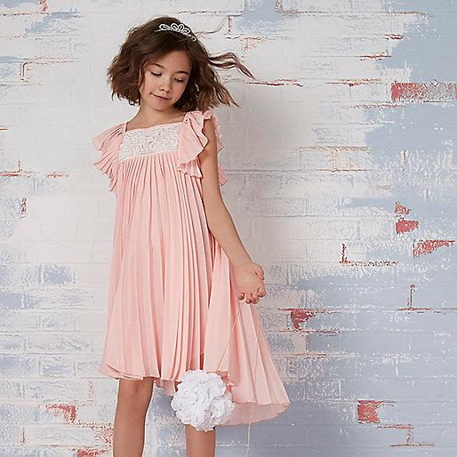 Girls pink pleated lace trapeze dress