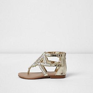 Sandales argentées ornées mini fille
