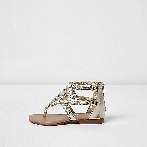 Mini girls silver embellished sandals